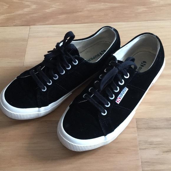 Superga Shoes | Black Velvet Tennis